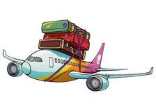 Traveling. An  cartoon plane is flying with luggage sets tied on its top. The plane and luggage (including its shadow) are grouped separately and all groups can Royalty Free Stock Photography