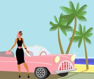 Traveling  Celebrity. Lady came out of the buggy to enjoy the beach Royalty Free Stock Images