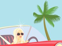 Traveling  Celebrity. Blond behind the wheel rides along the Palm Beach Stock Photography