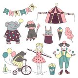 Traveling chapiteau circus. Vector illustration, set of circus performers, trained animals and circus props. stock illustration
