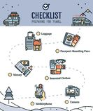 Traveling checklist with travel illustration stock illustration