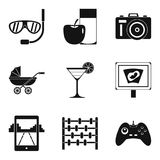 Traveling with child icons set, simple style Royalty Free Stock Images
