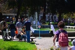 The traveling children`s festival in Piazza dei Martiri in Belluno, Italy stock photo