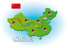 Traveling in China vector illustration