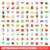 100 traveling circus icons set, cartoon style. 100 traveling circus icons set in cartoon style for any design vector illustration Royalty Free Stock Image