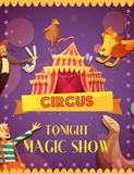 Traveling Circus Magic Show Announcement Poster Royalty Free Stock Photos