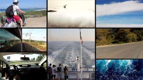 Traveling, collage stock video footage