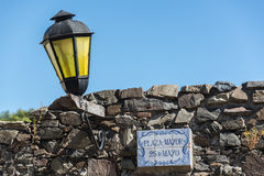 Traveling Colonia del Sacramento, Uruguay. Traditional historic town. Lamp and Stones. Royalty Free Stock Photography