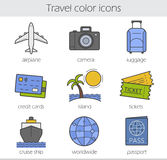 Traveling color icons set Stock Photos