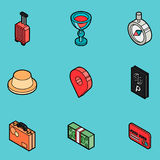 Traveling color outline isometric icons Royalty Free Stock Photography