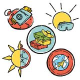 Traveling colored illustration, icons set. Traveling icons set. Colored illustration. Sports and recreation Royalty Free Stock Images