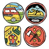 Traveling colored illustration, icons set. Traveling icons set. Colored illustration. Sports and recreation Stock Photos