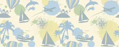 Traveling colorful pattern with yachts, palms, dolphins. And planes royalty free illustration