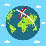 Traveling concept around the world. Banner with Earth globe, flying airplane and mapping pins. Vector. royalty free illustration