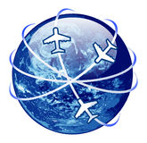 Traveling concept. globe surranded by airplane Stock Images