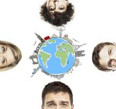 Traveling concept. Half heads social people, traveling concept Stock Photos