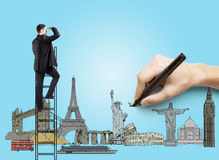 Traveling concept. Hand drawing on blue paper  businessman, traveling concept Royalty Free Stock Images
