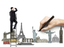 Traveling concept. Hand drawing businessman on ladder, traveling concept Royalty Free Stock Image