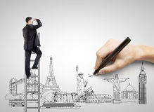 Traveling concept. Hand drawing on white paper  businessman, traveling concept Stock Image