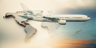 Traveling concept. Side view of aiplane and map on sky background. 3D Rendering. Double exposure. Traveling concept Royalty Free Stock Photos