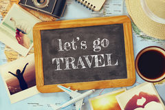 Traveling concept. vintage filtered. top view Stock Photo