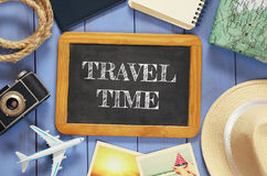 Traveling concept. vintage filtered. top view Royalty Free Stock Image