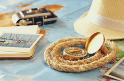 Traveling concept. vintage filtered. top view Royalty Free Stock Photography
