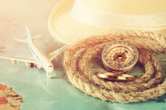 Traveling concept . vintage filtered. top view. Royalty Free Stock Photography