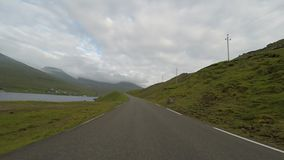Traveling in the countryside. Of the Faroe Islands stock footage
