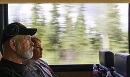 Traveling Couple on a Bus stock photography