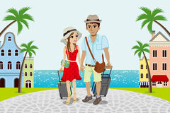 Traveling Couple in Seaside town -EPS10 Stock Photos