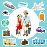 Traveling Couple and  Transportation sets Royalty Free Stock Photography