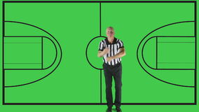 Traveling, court. Man dressed in basketball referee uniform signaling Traveling stock video footage