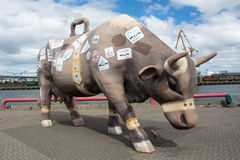 Traveling Cow. Sculpture in Port of Ventspils, Latvia Stock Images