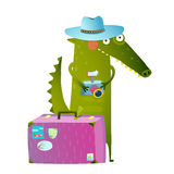 Traveling crocodile tourist with suitcase and camera Stock Image