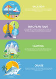 Traveling, Cruise Ship and Camping Concept Royalty Free Stock Images