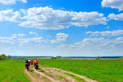 Traveling cyclists Royalty Free Stock Photo