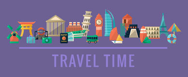 Traveling Destinations Set. Set of Traveling Destinations And Activities Lined Horizontally Flat Vector Ilustration On Violet Background With Text vector illustration