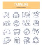 Traveling Doodle Icons. Traveling and tourism doodle icons collection. Stay in hotel, tickets and pass, transport for travel, common traveler items. Vector stock illustration