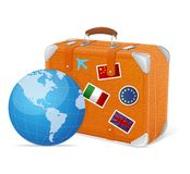 Traveling element baggage and globe Royalty Free Stock Photo