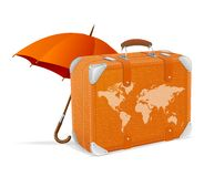Traveling element baggage and umbrella Royalty Free Stock Photos