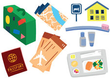 Traveling Essentials Set Royalty Free Stock Photography
