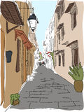 Traveling European Greece street sketch. And watercolor Stock Photography