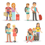 Traveling family children summer holiday tourism vacations vector flat icons Stock Photography