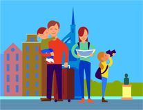 Traveling With Family Flat Design Colorful Concept. Traveling with family in foreign country. Father with suitcase holding son on hand, mother watching in map Stock Images