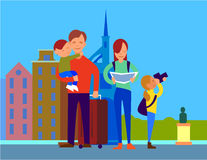 Traveling With Family Flat Design Vector Concept. Traveling with family in foreign country. Father with suitcase holding son on hand, mother watching in map Royalty Free Stock Photography