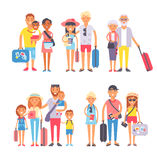 Traveling family group people on vacation together character flat vector illustration. Royalty Free Stock Photos