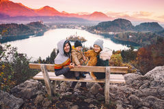 Traveling family looking on Bled Lake, Slovenia, Europe Stock Photo