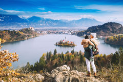 Traveling family looking on Bled Lake, Slovenia, Europe stock image