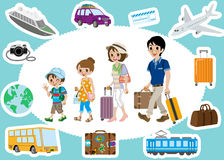 Traveling Family and  Transportation sets Stock Photography